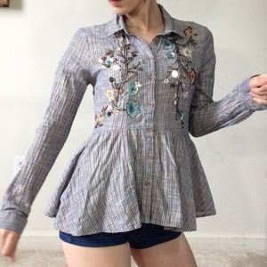Anthropologie Beaded Sequin Button Up Blouse